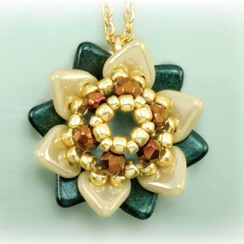 TWO HOLE TRIANGLE BEADS WINTER FLOWER PENDANT
